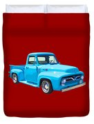 1955 Ford F100 Blue Pickup Truck Canvas Duvet Cover