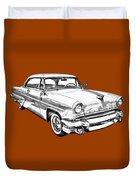1955 Lincoln Capri Luxury Car Illustration Duvet Cover