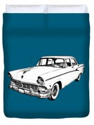 1956 Ford Custom Line Antique Car Illustration Duvet Cover