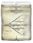1956 Jet Airplane Patent 2 Blue Duvet Cover