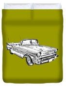 1957 Chevrolet Bel Air Convertible Illustration Duvet Cover