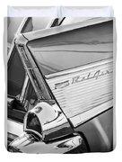 1957 Chevrolet Bel Air Tail Light Emblem -0140bw Duvet Cover