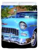 1955 Chevy Baby Blue Duvet Cover