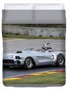 1960 Chevy Corvette At Road America Duvet Cover