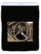 1963 Chevrolet Corvette Steering Wheel - Sepia Duvet Cover
