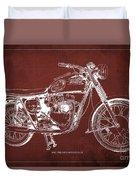 1963 Triumph Bonneville, Blueprint Red Background Duvet Cover