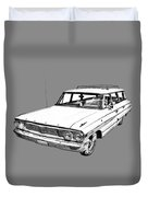 1964 Ford Galaxy Country Stationwagon Illustration Duvet Cover