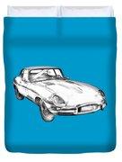 1964 Jaguar Xke Antique Sportscar Illustration Duvet Cover