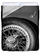 1964 Morgan 44 Spare Tire Black And White Duvet Cover