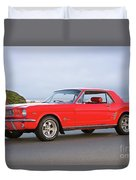 1965 Ford Mustang 'red Coupe' I Duvet Cover