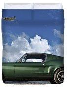 1968 Ford Bullitt Mustang Gt 390 Fastback, P-51 Mustang, Plymouth Rock Chicken Duvet Cover