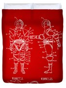 1968 Hard Space Suit Patent Artwork - Red Duvet Cover