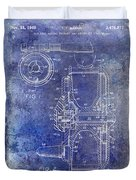 1969 Fly Reel Patent Blue Duvet Cover