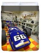 1969 Penske Indy Car In Garage Duvet Cover