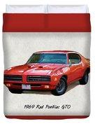 1969 Red Pontiac Gto The Judge Duvet Cover
