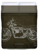 1969 Triumph Bonneville Blueprint Brown Background Duvet Cover