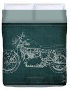 1969 Triumph Bonneville Blueprint Green Background Duvet Cover