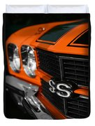 1970 Chevelle Ss396 Ss 396 Orange Duvet Cover