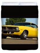 1970 Hemi 'cuda - Lemon Twist Yellow Duvet Cover