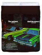 1971 Plymouth Duster 340 And Twister Duvet Cover