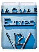 1972 Jaguar E-type V12 Roadster Emblem Duvet Cover