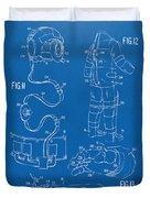 1973 Space Suit Elements Patent Artwork - Blueprint Duvet Cover by Nikki Marie Smith