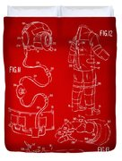 1973 Space Suit Elements Patent Artwork - Red Duvet Cover by Nikki Marie Smith