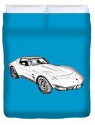 1975 Corvette Stingray Sports Car Illustration Duvet Cover