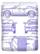 1990 Porsche 911 Patent Blueprint Duvet Cover