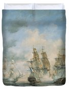 19th Century Naval Engagement In Home Waters Duvet Cover