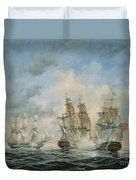 19th Century Naval Engagement In Home Waters Duvet Cover by Richard Willis