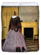19th Century Plaid Dress Duvet Cover