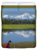 1m1326 Wife And Son In Denali National Park Duvet Cover