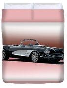 1958 Corvette 'retro' Convertible Duvet Cover