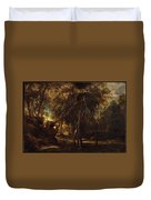A Forest At Dawn With A Deer Hunt Duvet Cover