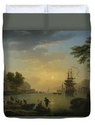 A Landscape At Sunset Duvet Cover