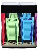 A Rainbow Of Chairs Duvet Cover