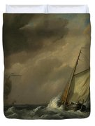A Small Dutch Vessel Close-hauled In A Strong Breeze Duvet Cover