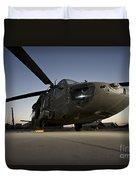 A Uh-60l Blackhawk Parked On Its Pad Duvet Cover
