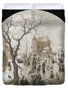 A Winter Scene With Skaters Near A Castle Duvet Cover