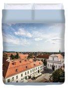 Aerial View Of Zagreb In Croatia Duvet Cover