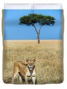 African Lioness Panthera Leo, Serengeti Duvet Cover