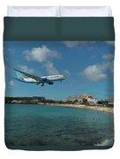 Air Caraibes Landing At St. Maarten Duvet Cover