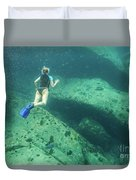 Apnea In Tropical Sea Duvet Cover