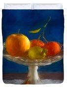 Apple, Lemon And Mandarins. Valencia. Spain Duvet Cover