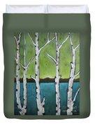Aspen Trees On The Lake Duvet Cover