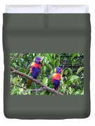 Australia - Two Brightly Coloured Lorikeets Duvet Cover