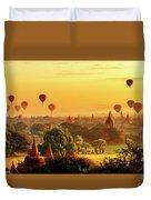 Bagan Pagodas And Hot Air Balloon Duvet Cover by Pradeep Raja PRINTS