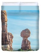 Balanced Rock In Arches National Park Near Moab  Utah At Sunset Duvet Cover