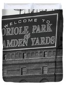 Baltimore Orioles Park At Camden Yards Bw Duvet Cover